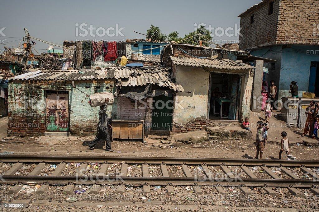 Along the train tracks. Delhi, India. stock photo