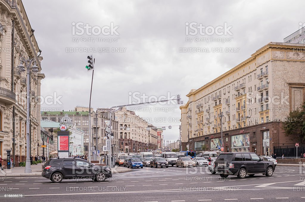Along Tverskaya Street moving cars and pedestrians stock photo