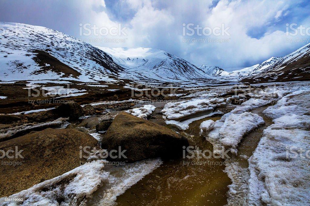 Along way at Khardung La Pass in Ladakh, India. stock photo