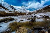 Along way at Khardung La Pass in Ladakh, India.