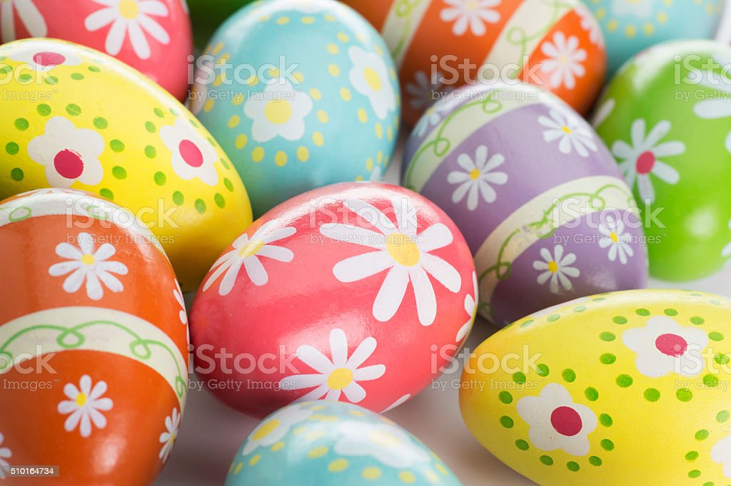 Alot of Colorful Painted Easter Eggs on White stock photo