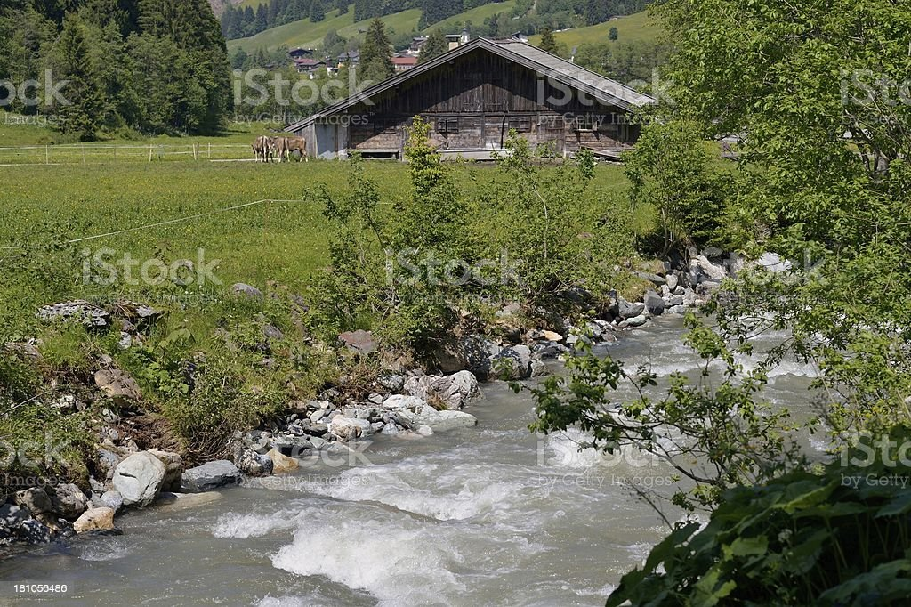 Alp cottage or hut in Austria stock photo