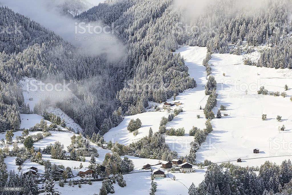 Alp farm landscape stock photo