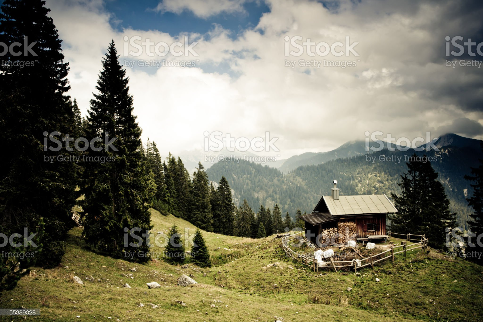 alp hut in the ammergauer alps, bavaria,- vintage filtered royalty-free stock photo