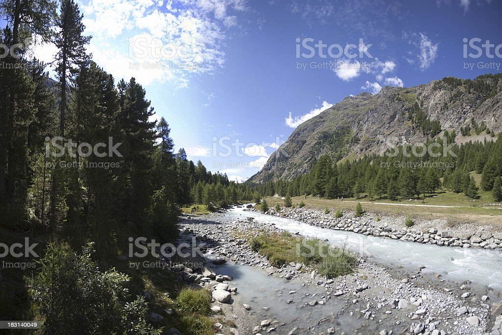 Alp mountain stream stock photo