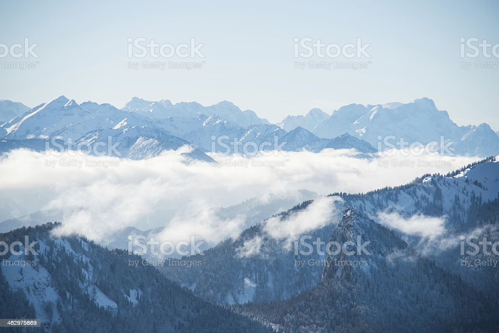 alp panorma of bavaria view from Wallberg Tegernsee hdr stock photo