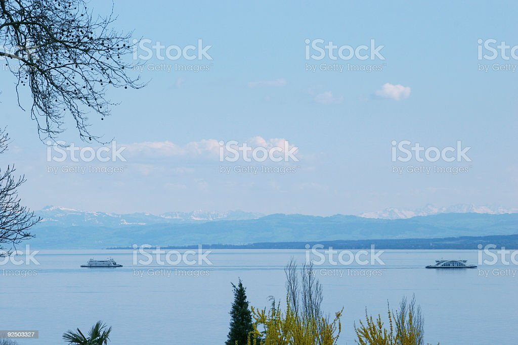 Alp, two ferries and the lake constance royalty-free stock photo