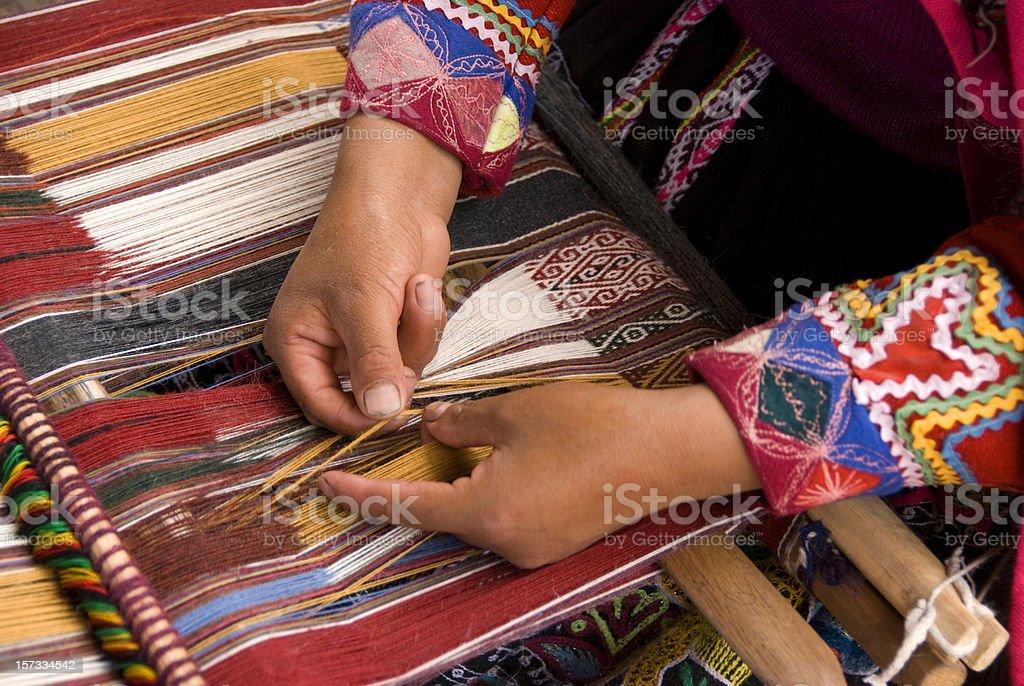 Alpaca Weaving Peru royalty-free stock photo