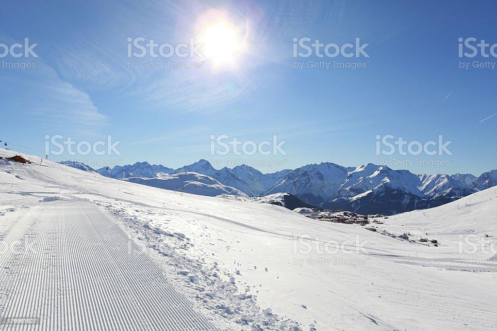 Alpe d'Huez snow trails royalty-free stock photo