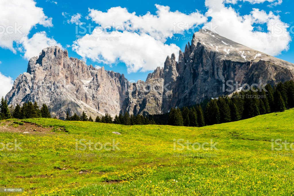 Alpe di Siusi in Trentino Alto Adige stock photo