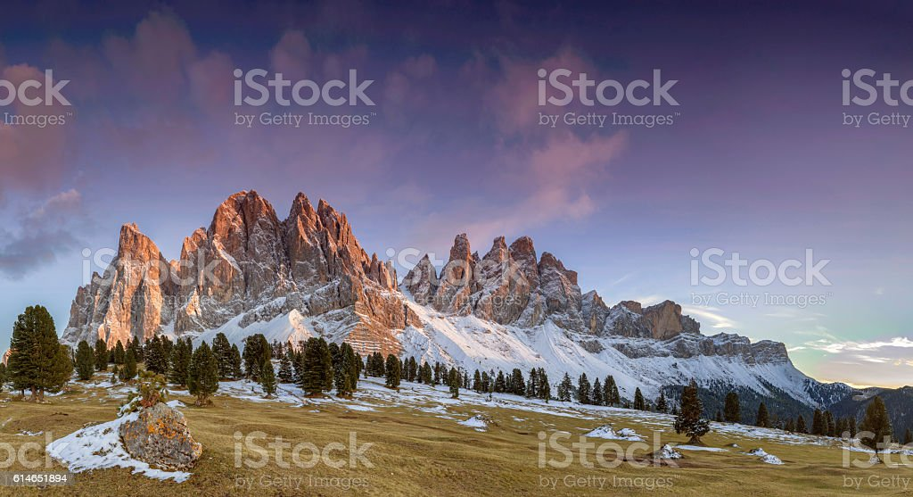 Alpen Gow at Geisler Group in Southtirol, Alps  -XXXL Panorama stock photo