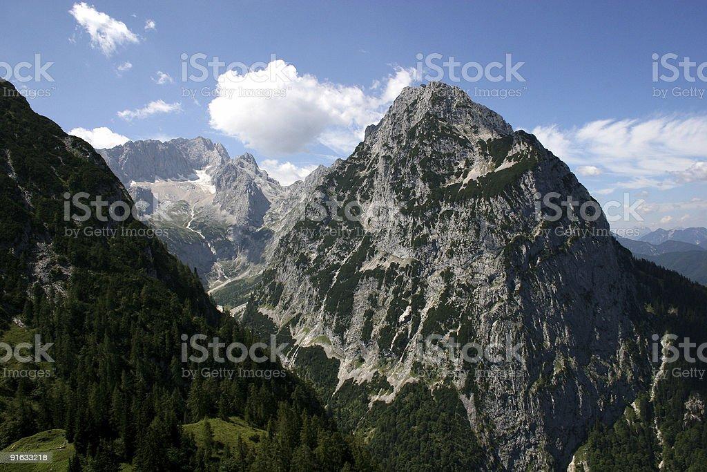 Alpen - Zugspitze, H?llental, H?llentalferner & Waxensteine royalty-free stock photo