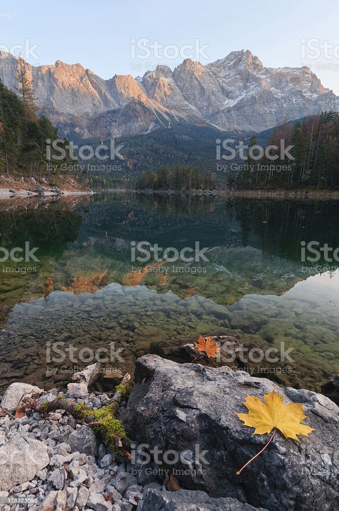 Alpenglow at Lake Eibsee royalty-free stock photo