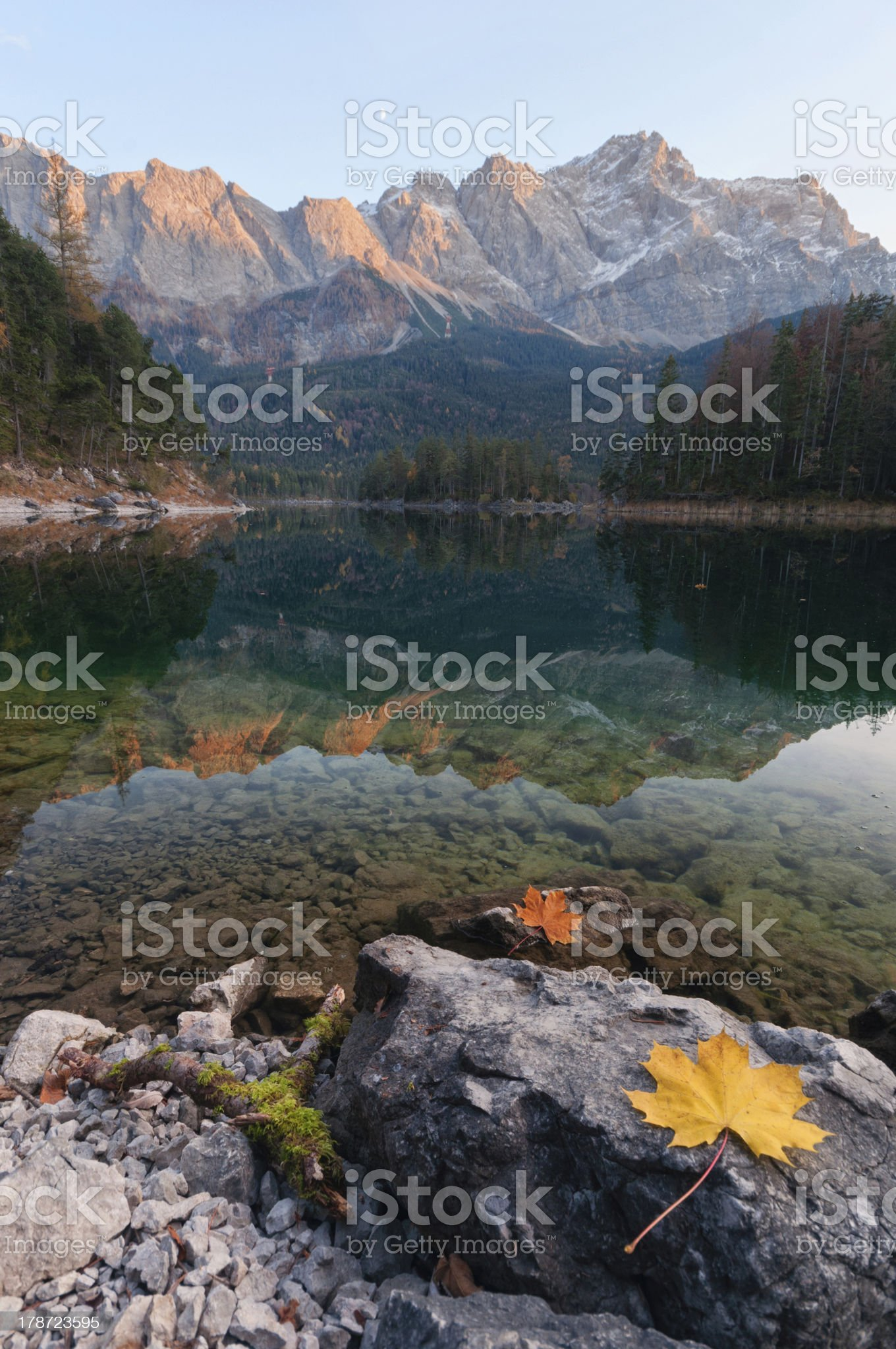 Alpenglow at Lake Eibsee royalty-free stock photo