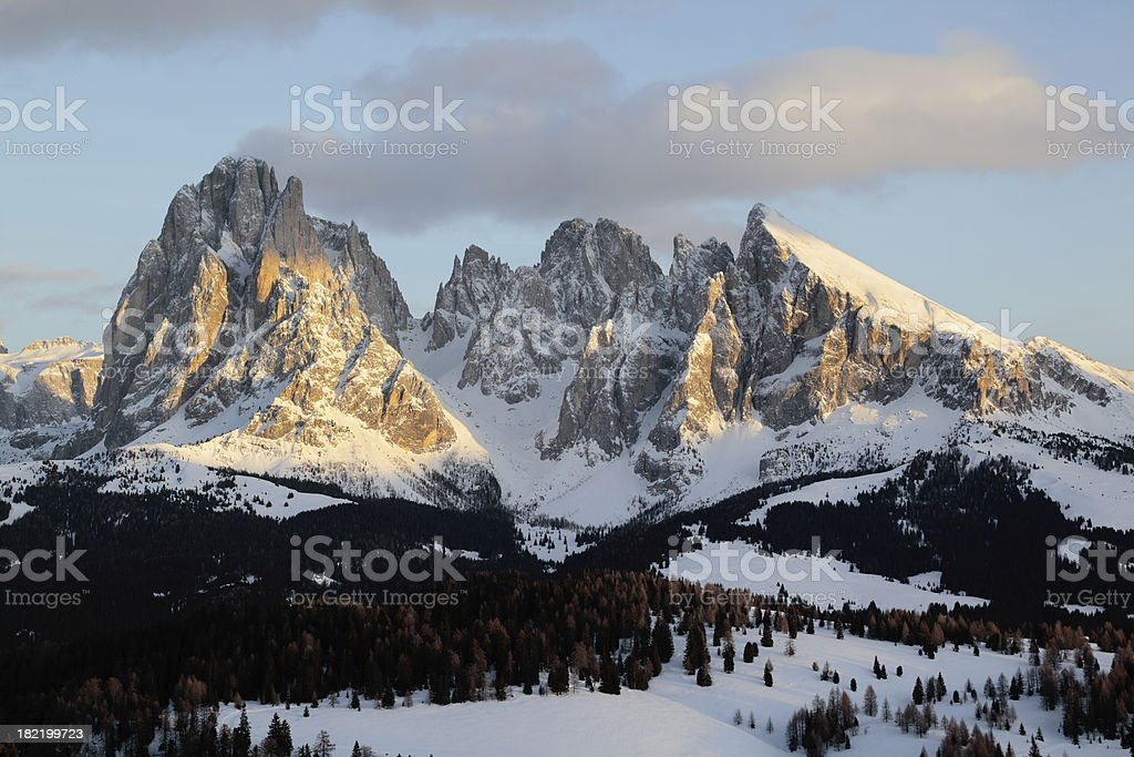 Alpenglow at Langkofel Mountain in Dolomites, Italy (XXXL) royalty-free stock photo