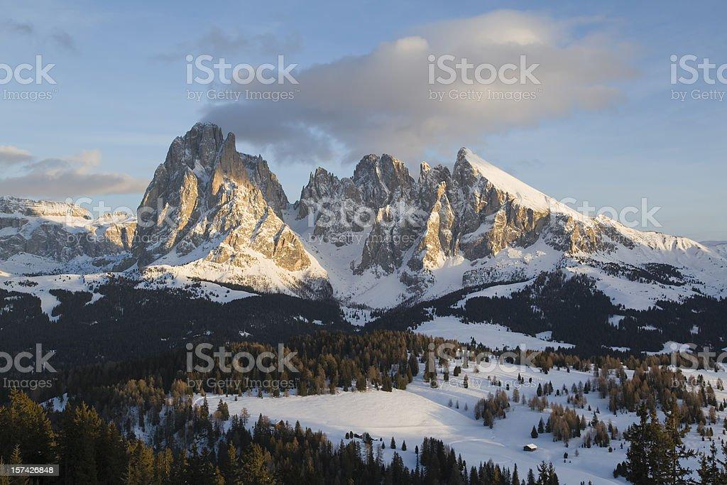 Alpenglow in Sella Mountains, Dolomites (XXXL) royalty-free stock photo