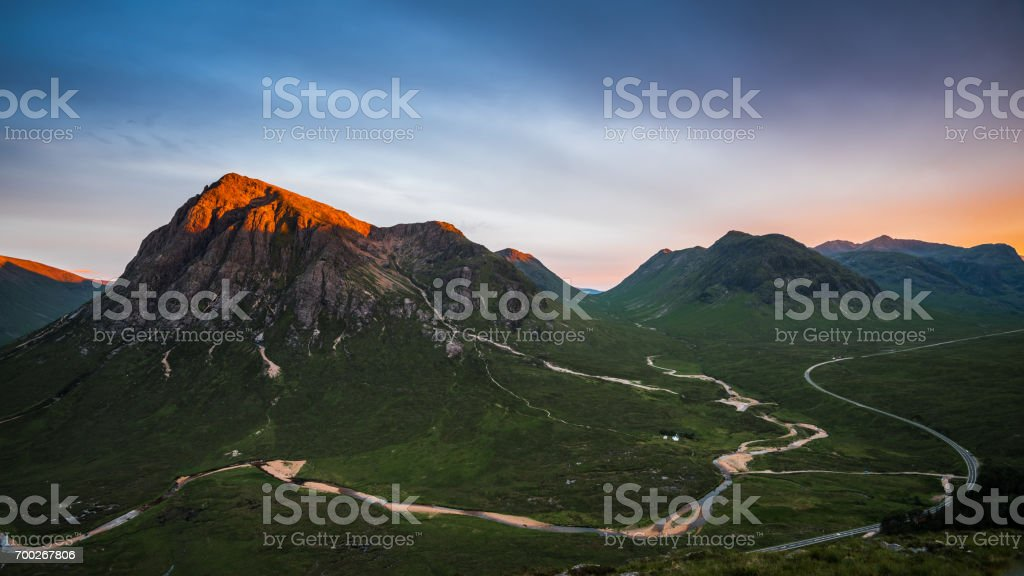 Alpenglow on Buachaille Etive Mor stock photo