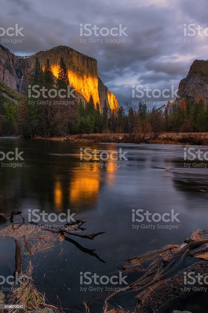 Alpenglow on El Capitan stock photo