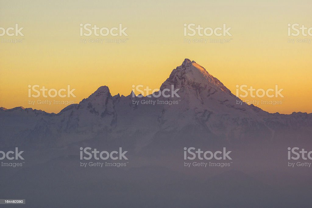 Alpenglow on Germany's Highest Peak royalty-free stock photo