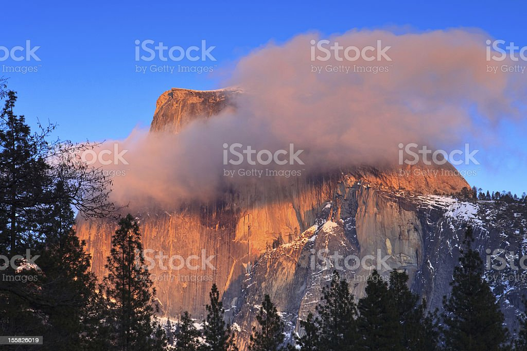 Alpenglow on Half Dome royalty-free stock photo