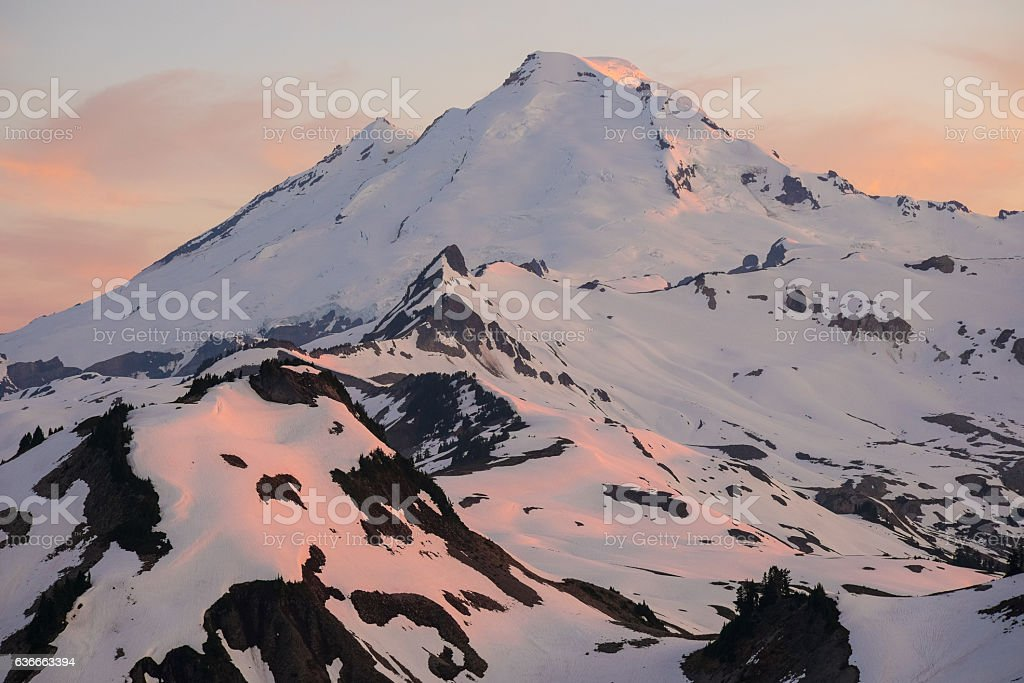 Alpenglow on Mt. Baker stock photo