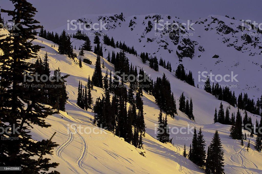 Alpenglow on Selkirk Mountains with Ski Tracks stock photo
