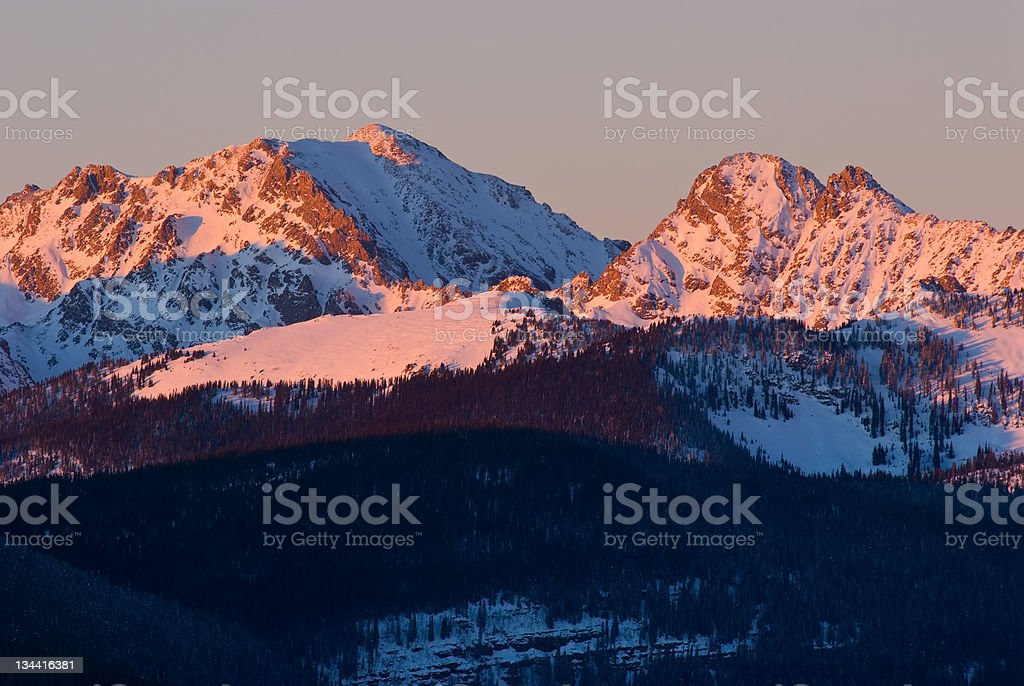 Alpenglow on the Gore Mountain Range Colorado royalty-free stock photo