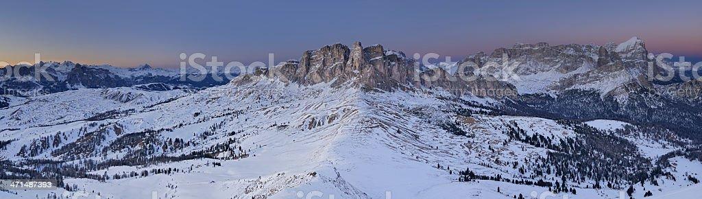 Alpenglow on the Set Sass (Dolomites - Italy) stock photo