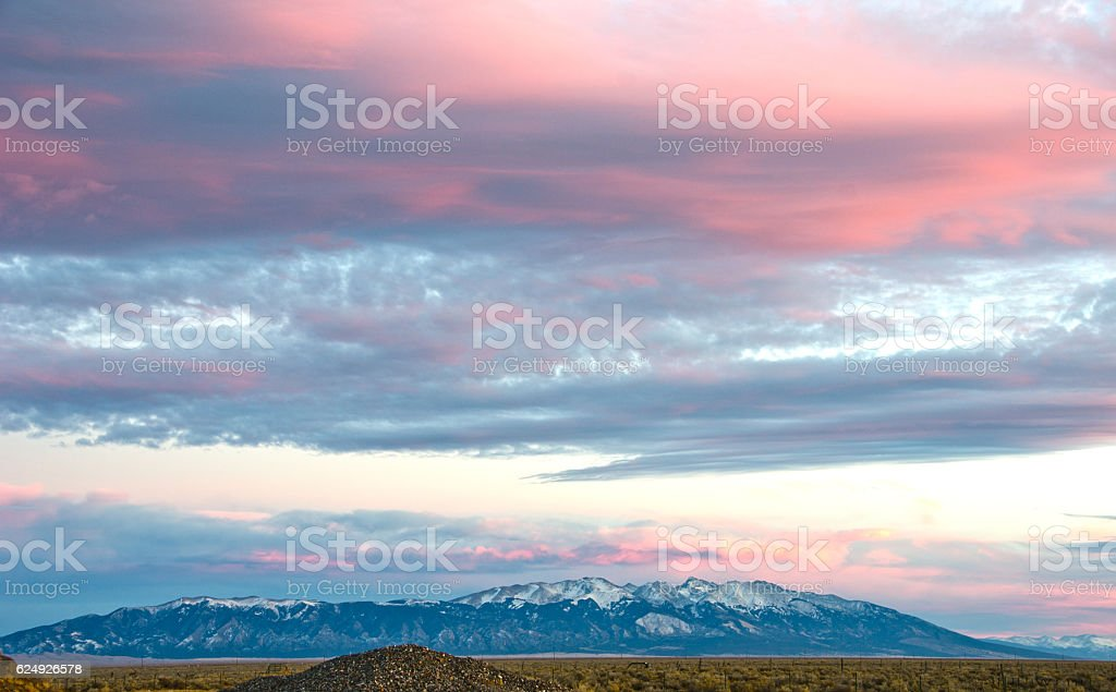 Alpenglow Over Blanca Peak in the Sangre de Cristo Moun stock photo
