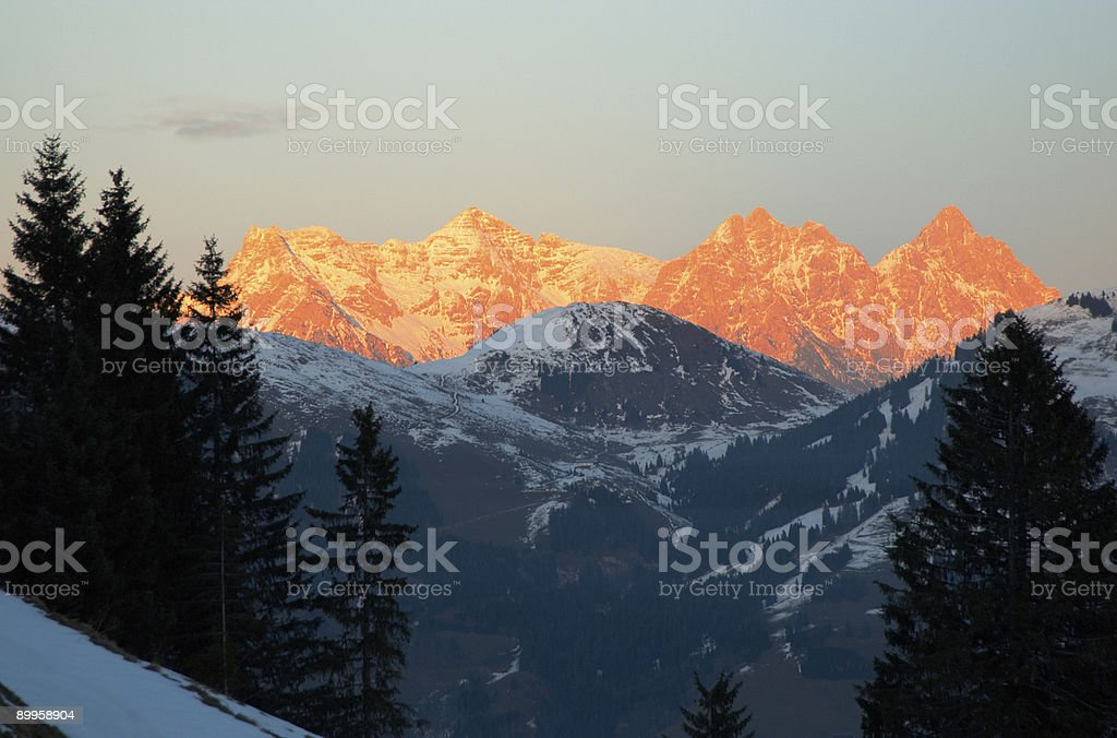 alpenglow stock photo
