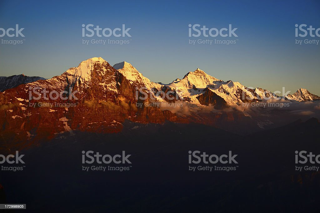 Alpengluehen Eiger royalty-free stock photo