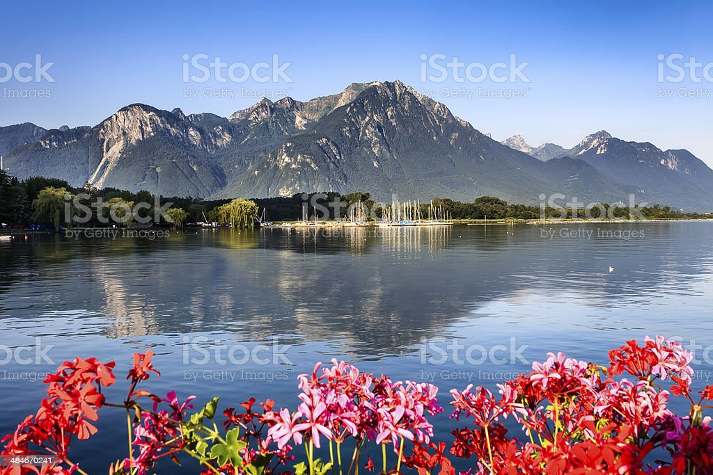 Alpes with geneva lake stock photo