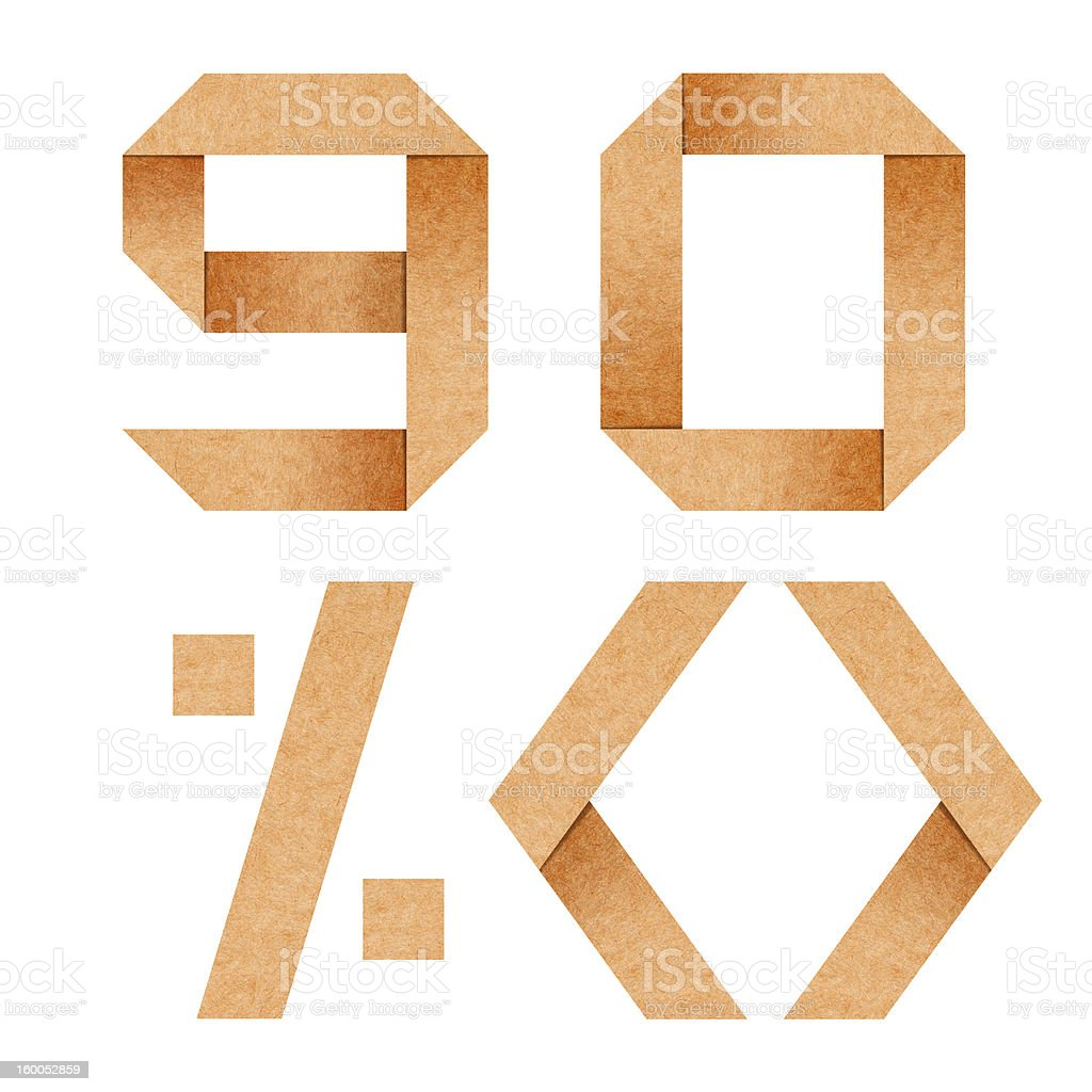 alphabet 9,0,% Origami paper with clipping path royalty-free stock photo