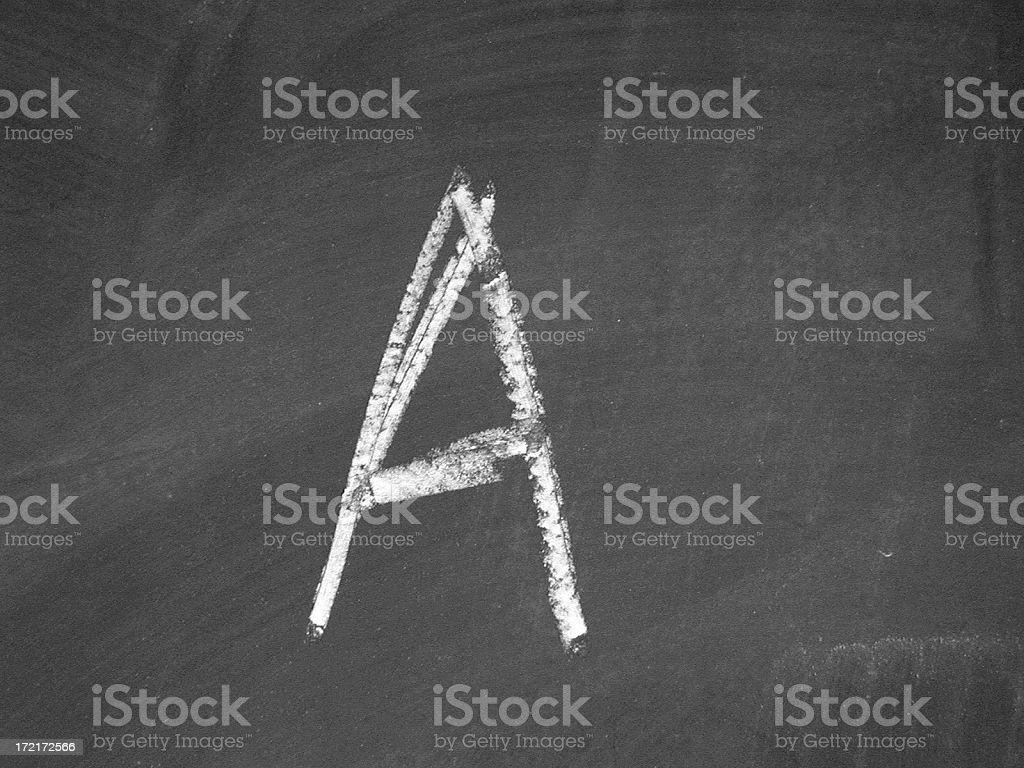alphabet - A - Chalk stock photo
