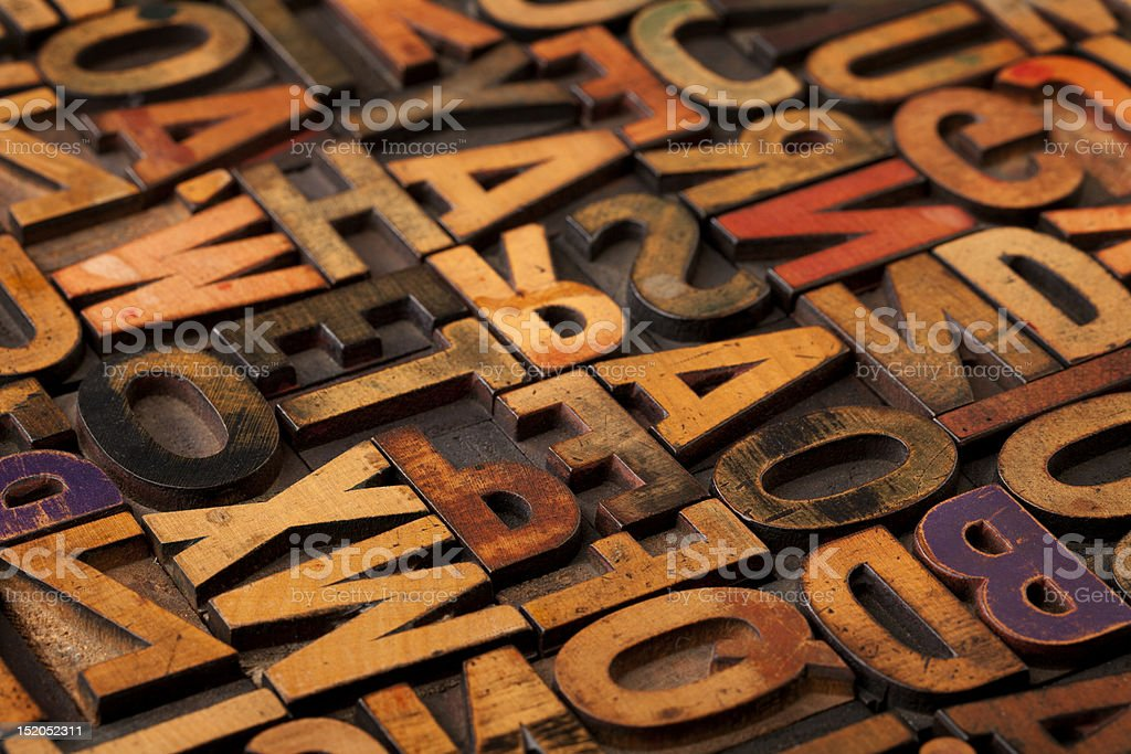 alphabet abstract in vintage printing blocks stock photo