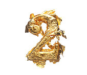 Alphabet and numbers in rough gold leaf