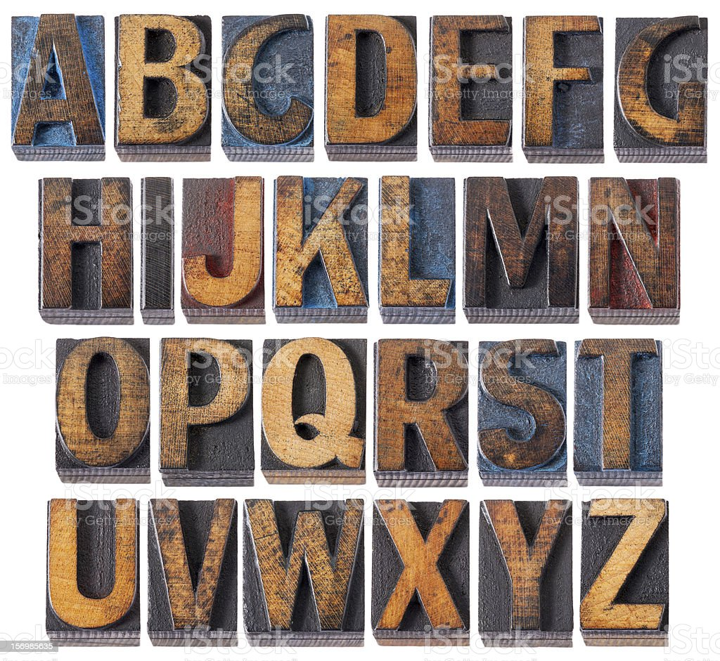 Alphabet antique wood stamps in capital letters stock photo