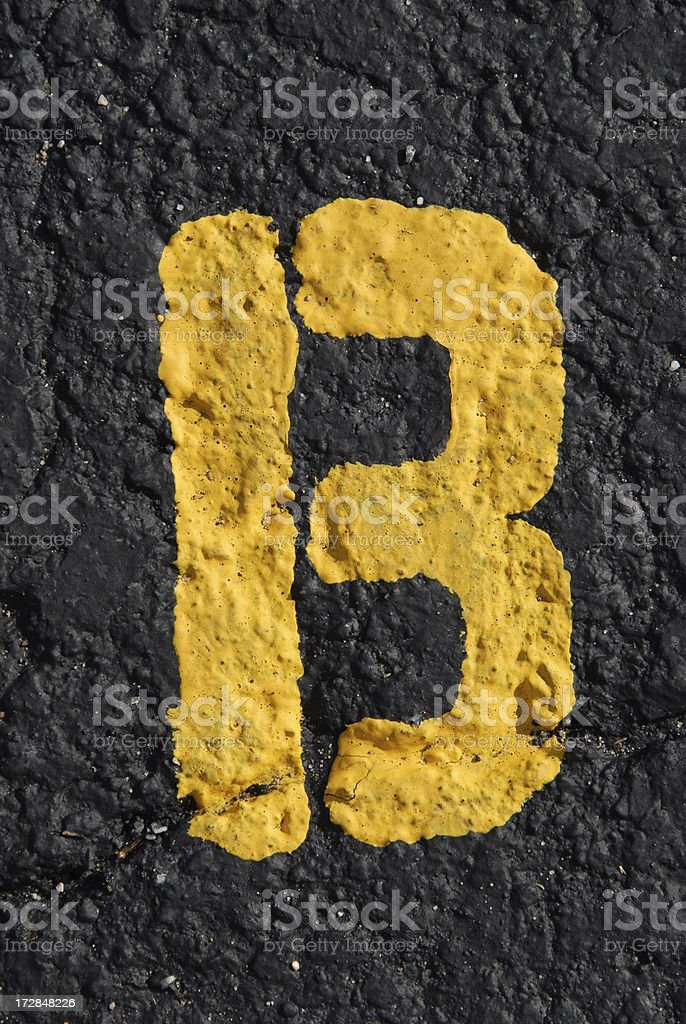 Alphabet, Asphalt Stenciled B royalty-free stock photo
