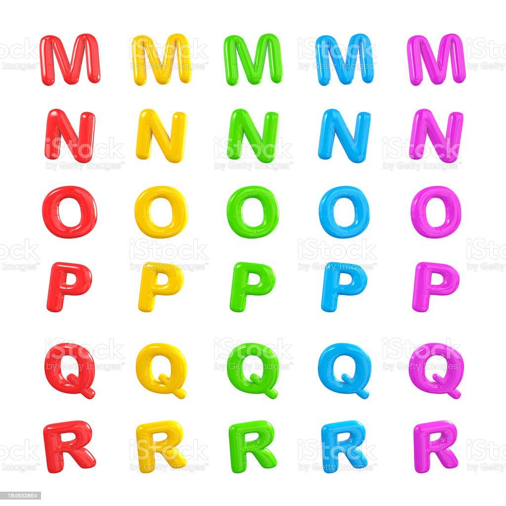 Alphabet balloon letters M-R royalty-free stock photo