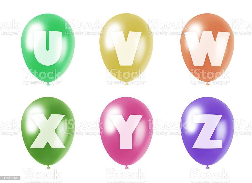 alphabet balloons set u-z royalty-free stock photo