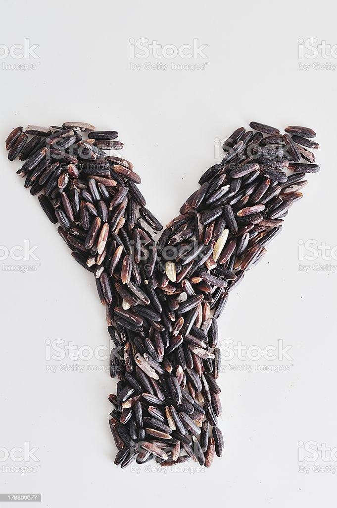 Alphabet Black rice royalty-free stock photo
