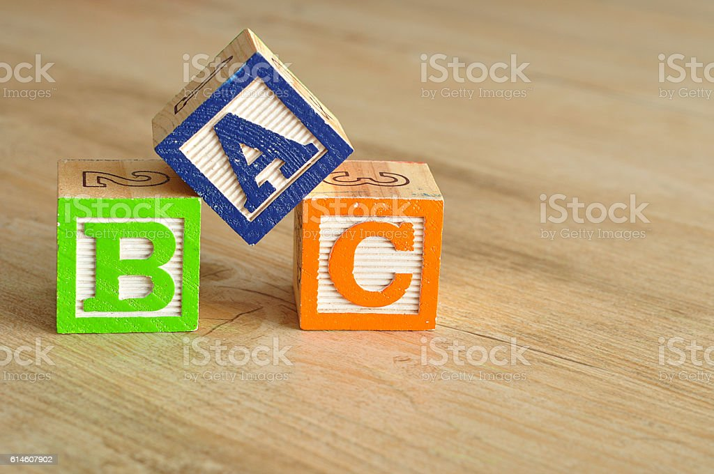 Alphabet blocks ABC stock photo