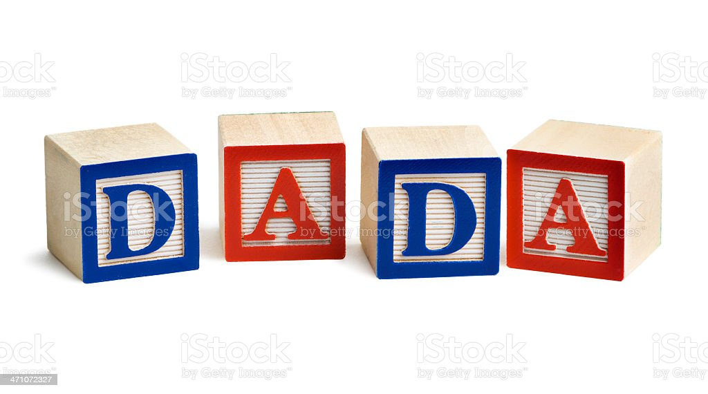 Alphabet Blocks Spelling DADA for Father, Dad Baby Talk Word royalty-free stock photo
