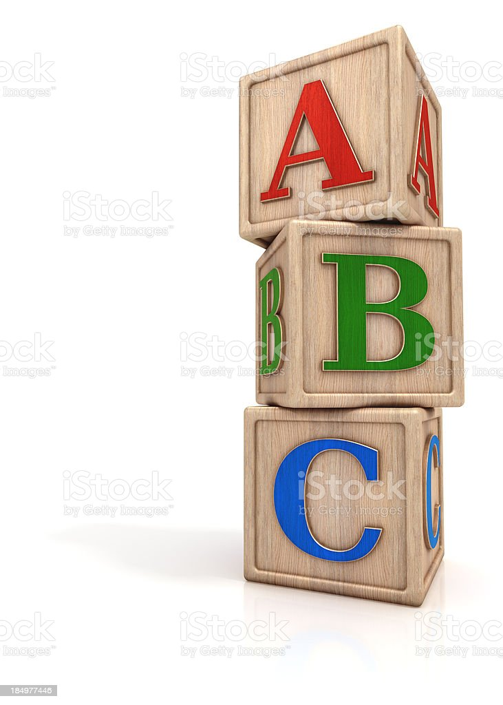 ABC alphabet blocks stack stock photo
