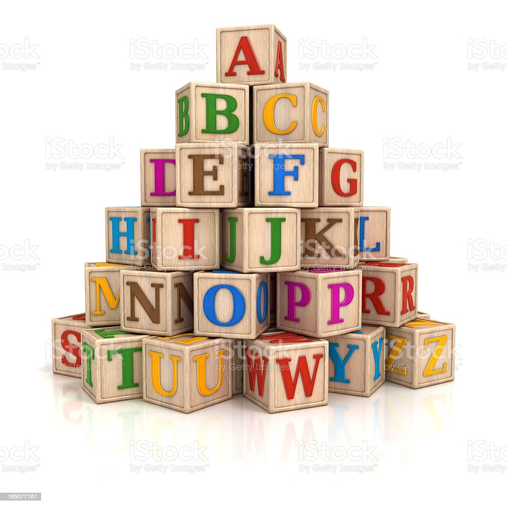 Alphabet blocks stack stock photo