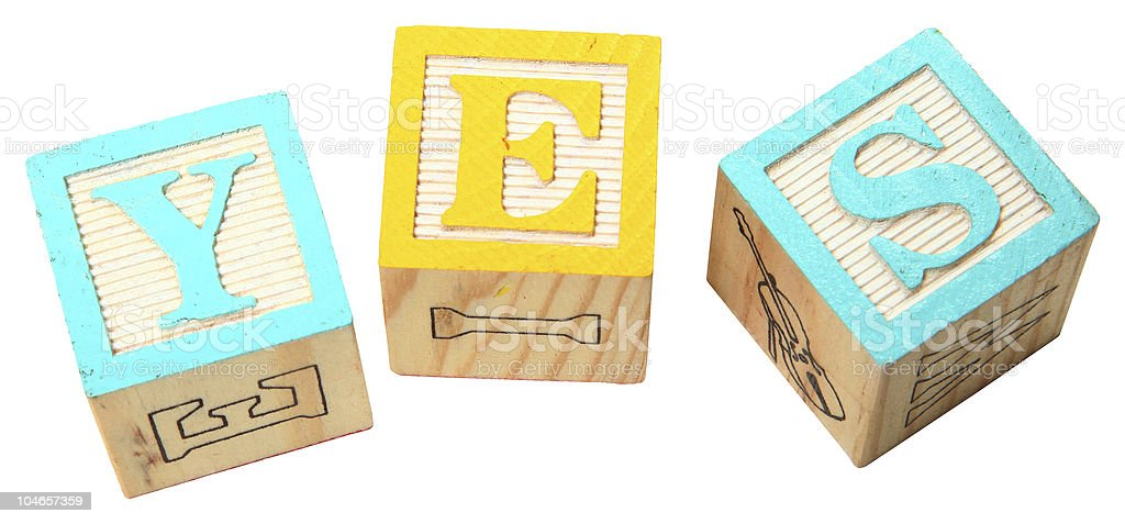 Alphabet Blocks YES royalty-free stock photo