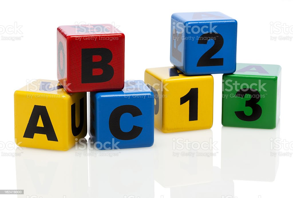 Alphabet building blocks showing ABC and 123 royalty-free stock photo
