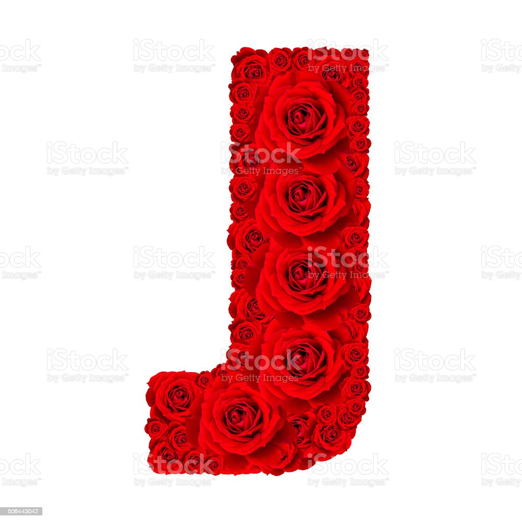 Alphabet capital letter J made from red rose stock photo