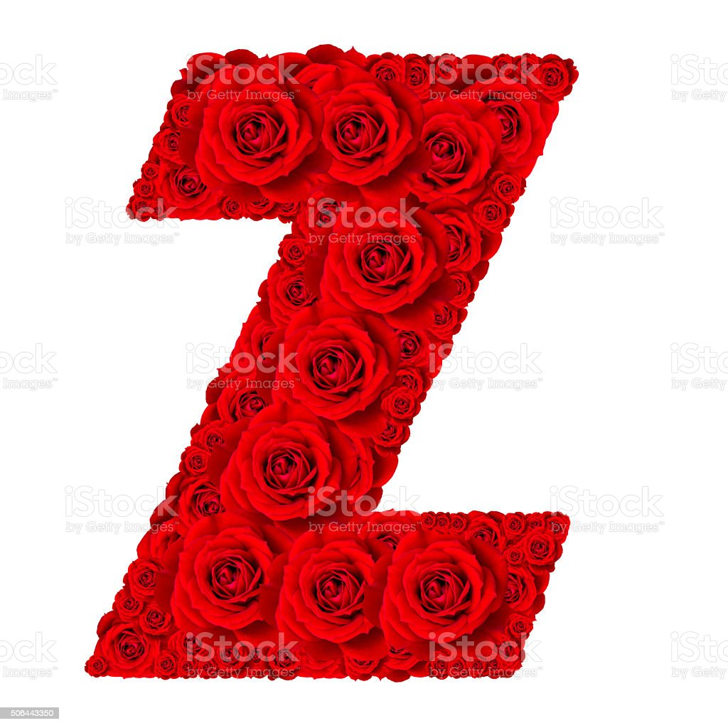 Alphabet capital letter Z made from red rose blossoms stock photo