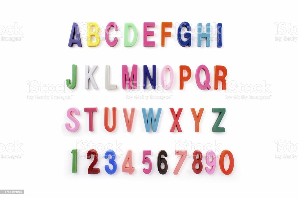 Alphabet colored stock photo